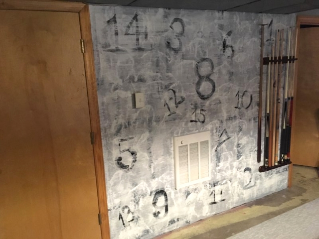 Basement wall repainting