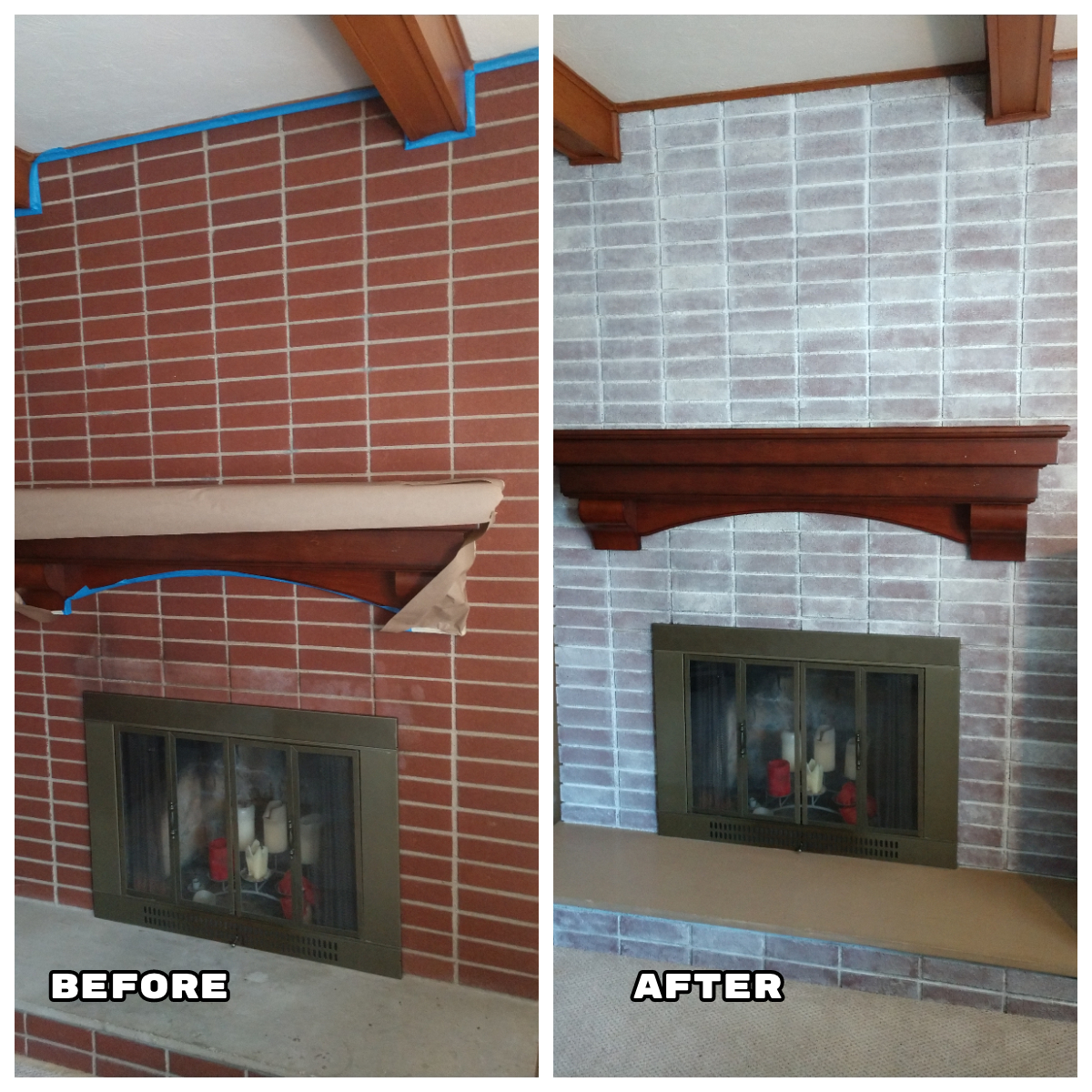 white wash technique painted brick fireplace refresh