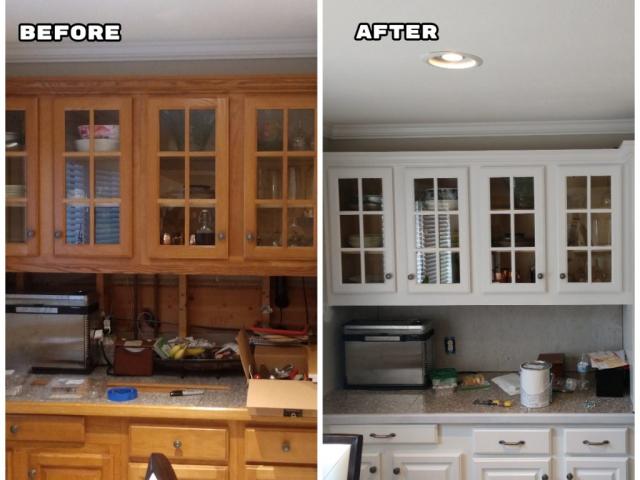 Fresh paint on kitchen cabinets