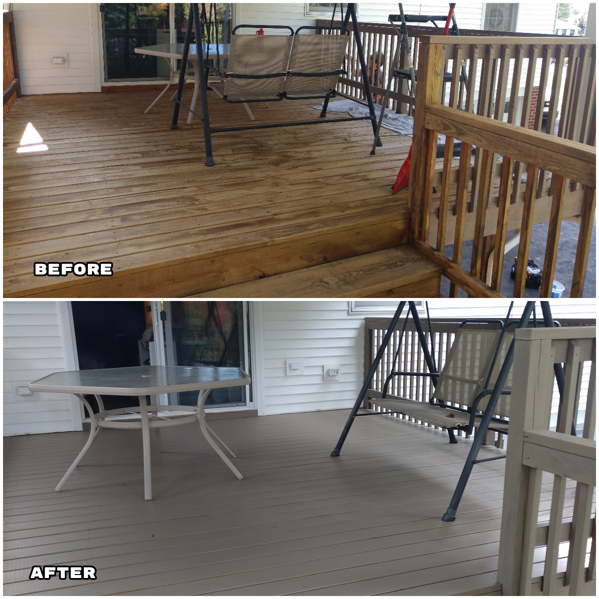 fresh paint before and after porch deck